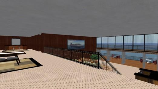 selbst von der hintenliegenden Galerie hat man bei dieser Luxussuite Sicht aufs Meer